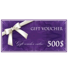 template design of purple gift voucher or vector image