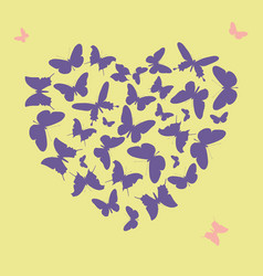 ultra violet heart shape made from butterfly vector image vector image