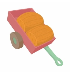Wheelbarrow with two wooden barrels icon vector
