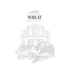Wheat Grain Flour And Farm Hand Drawn Realistic vector image