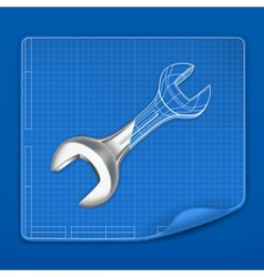 Wrench drawing blueprint vector