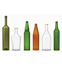 Realistic glass 3d blank bottle bottles vector