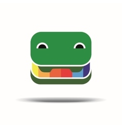 Cheerful crocodile pencil box logo green vector