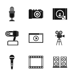 Broadcasting icons set simple style vector
