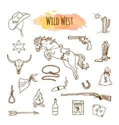 Hand drawn wild west vector