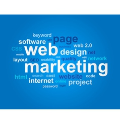 Web marketing in word cloud on blue background vector