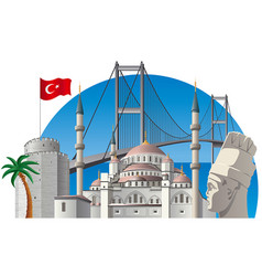 Turkey with landmarks vector