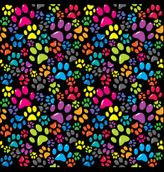 Colorful background with paws vector