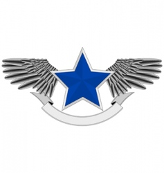 Winged blue star logo vector