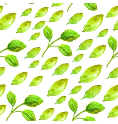 Watercolor seamless pattern with green leaf vector