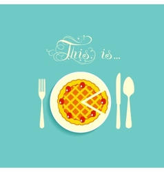 Pie is on a plate vector