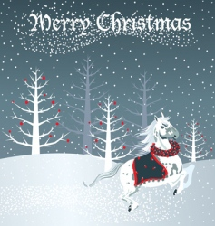 christmas horse vector image
