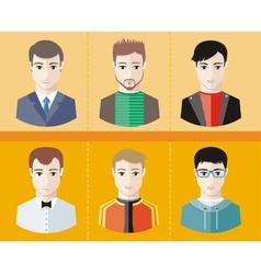 Man avatars characters on yellow background vector