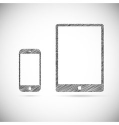 Hand-drawn electronic devices vector