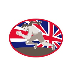 Runner track and field athlete british flag vector