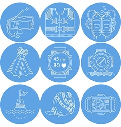 Diving sport icons collection vector