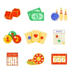 Lottery flat icon set vector