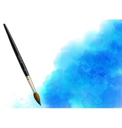 Blue watercolor stain with paintbrush vector
