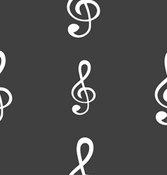 Treble clef icon seamless pattern on a gray vector
