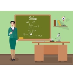School biology female teacher in audience class vector