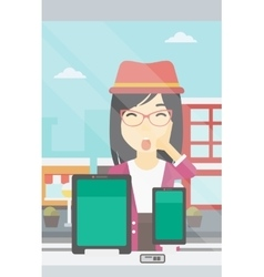 Woman looking at digital tablet and smartphone vector