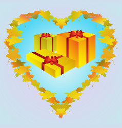 autumn golden gift boxes vector image vector image