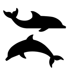black silhouettes of dolphin vector image vector image