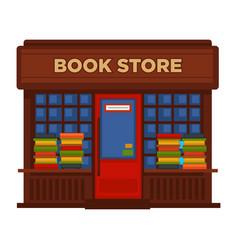 bookstore or bookshop booth facade building vector image