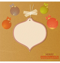 Christmas message tag over decorated brownpaper vector