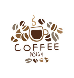 coffee hand drawn original logo design vector image vector image