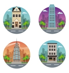 collection building moder and traditional vector image