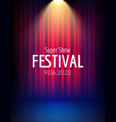 Festival show poster with spotlight concert event vector