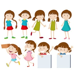 Girls doing different actions vector image vector image