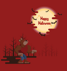 Halloween werewolf howling under the moon vector