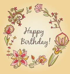 happy birthday greeting card circle floral frame vector image vector image