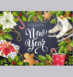 happy new year theme of xmas vector image
