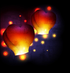 Heart shaped sky lantern vector