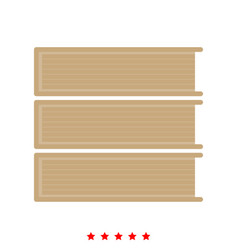 Horizontal stack of books icon different color vector