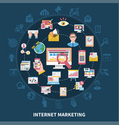 Internet marketing round composition vector