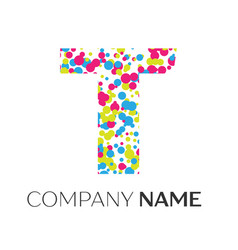 Letter t logo with blue yellow red particles vector