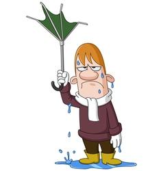 Man with broken umbrella vector