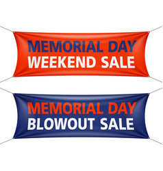 Memorial day weekend and blowout sale banners vector