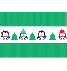 penguins with christmas trees vector image vector image