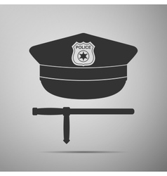 Police cap and baton flat icon on grey background vector