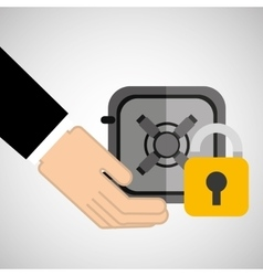 Security concept hand with box safe vector