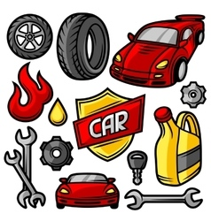 Set of car repair service objects and items vector