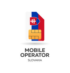 Slovakia mobile operator sim card with flag vector