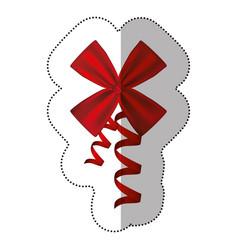 Sticker silk shiny ribbon with holding bow vector