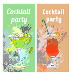 Summer cocktail party vertical banners vector