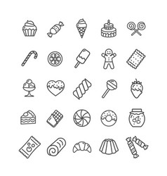 sweets and bakery icon black thin line set vector image vector image
